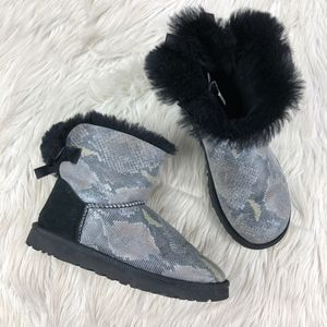 Ugg Mini Baily Bow Snake Shearling Fur Boots